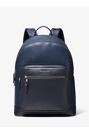Michael Kors MK Hudson Pebbled Leather Backpack - Navy - Michael Kors