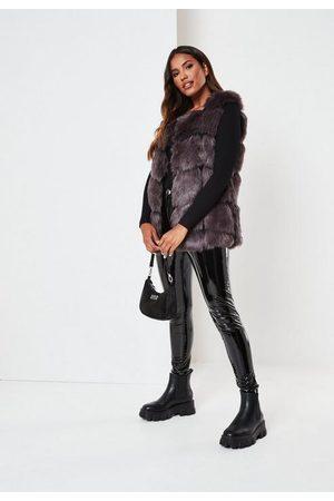 Missguided Charcoal Faux Fur Bubble Gilet