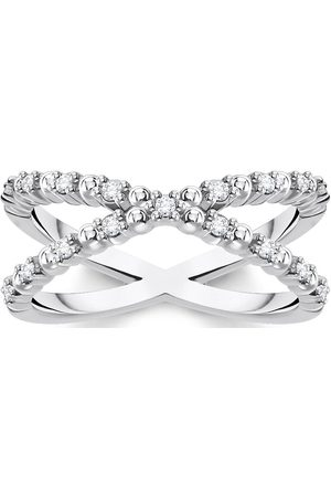 Thomas Sabo Sterling Silver And Cubic Zirconia Stacking Cross Ring