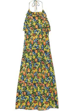 Les Rêveries Les Rêveries Woman Floral-print Silk Crepe De Chine Halterneck Midi Dress Multicolor Size 0