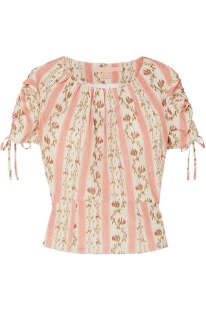 BROCK COLLECTION Woman Ruched Grosgrain-trimmed Floral-print Silk-georgette Top Cream Size 00