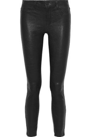J Brand Woman Stretch-leather Skinny Pants Midnight Size 29