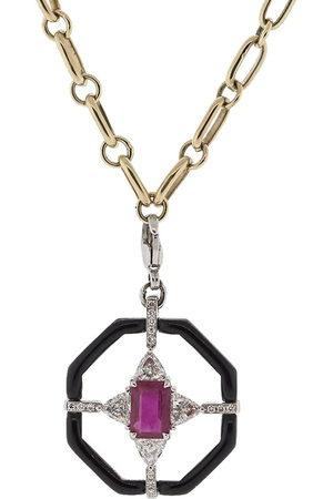 GEMFIELDS X MUSE 18kt white Nikos Koulis enamel and gemstone pendant