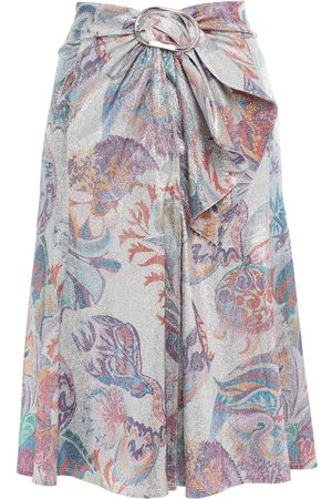 Paco rabanne Women Printed Skirts - Woman Draped Printed Lamé Skirt Size 44