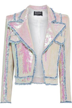 Balmain Women Summer Jackets - Woman Frayed Iridescent Sequined Ponte Jacket Off- Size 38