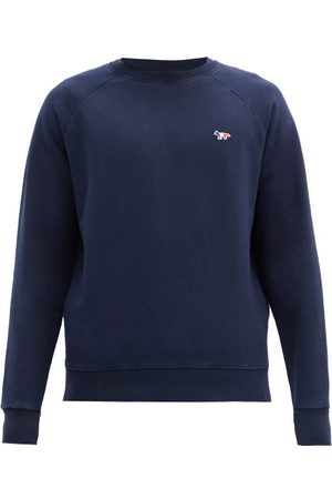 Maison Kitsuné Men Sweatshirts - Tricolour Fox-patch Cotton-jersey Sweatshirt - Mens - Navy