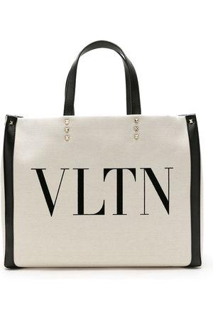 VALENTINO GARAVANI VLTN logo canvas tote - Neutrals