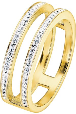 EVOKE Gold Plated Sterling Silver Clear Swarovski Crystal Double Band Ring