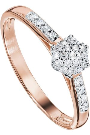 Love Diamond 9Ct Rose Gold 10 Point Diamond Cluster Engagement Ring