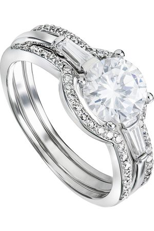 The Love Silver Collection Rhodium Plated Sterling Silver White Cubic Zirconia Halo Three Piece Set Ring