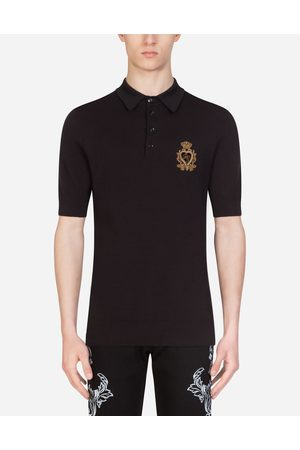 Dolce & Gabbana T-Shirts and Polos - POLO SHIRT IN SILK AND COTTON WITH PATCH