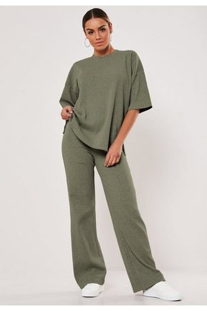 Missguided Khaki Rib T Shirt And Wide Leg Trousers Co Ord Set
