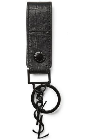 Saint Laurent Men Rings - Croc-Effect Leather Key Fob