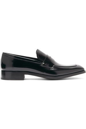 Prada Spazzolato-leather Penny Loafers - Mens