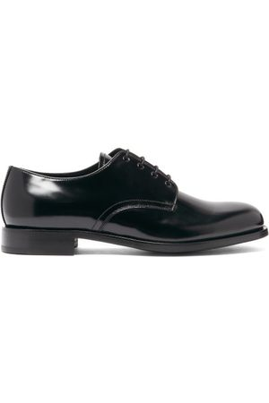Prada Round-toe Spazzolato-leather Derby Shoes - Mens