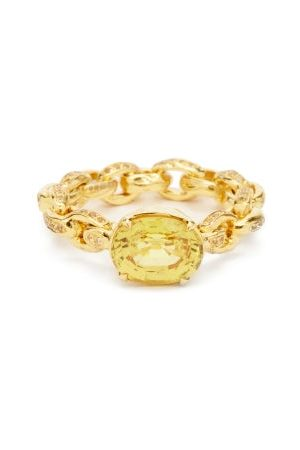 PATCHARAVIPA Sapphire & 18kt Chain Ring - Womens
