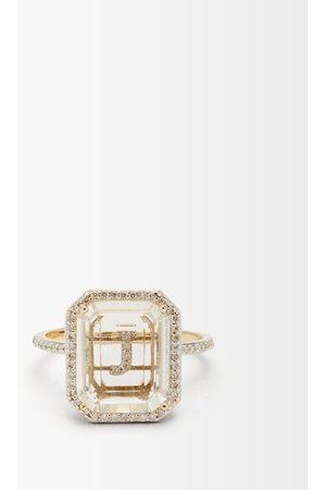 Mateo Initials Diamond, Quartz & 14kt Gold Ring J-q - Womens - Crystal