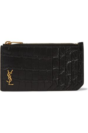 Saint Laurent Men Purses & Wallets - Logo-Appliquéd Croc-Effect Leather Wallet