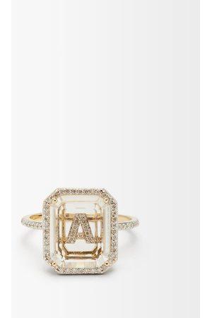 Mateo Initials Diamond, Quartz & 14kt Gold Ring A-i - Womens - Crystal