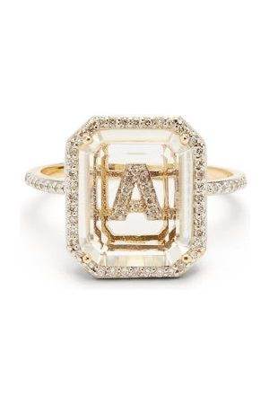 Mateo Women Rings - Initials Diamond, Quartz & 14kt Gold Ring A-i - Womens - Crystal