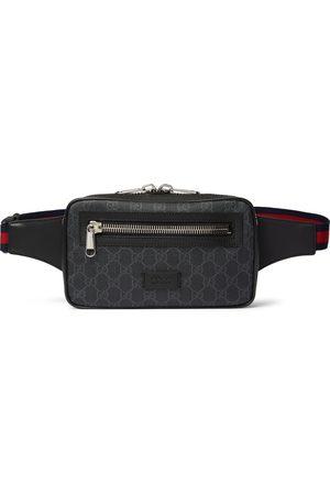Gucci Leather-Trimmed Monogrammed Coated-Canvas Belt Bag