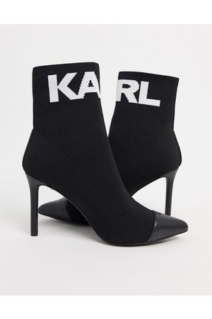 Karl Lagerfeld Pandora heeled sock boot with logo in