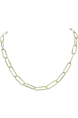 SuperJeweler Necklaces - 14K (5.90 g) Over Sterling Silver Textured Paperclip Chain Necklace, 18 Inches