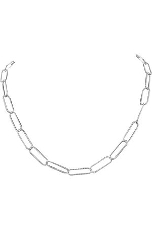 SuperJeweler 925 Sterling Textured Paperclip Chain Necklace, 18 Inches