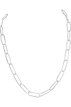 SuperJeweler Necklaces - 925 Sterling Textured Paperclip Chain Necklace, 20 Inches