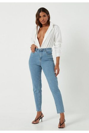 Missguided Petite Ripped Stretch Mom Jeans