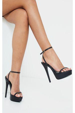 PRETTYLITTLETHING Women Platforms - PU Platform Strappy High Heels