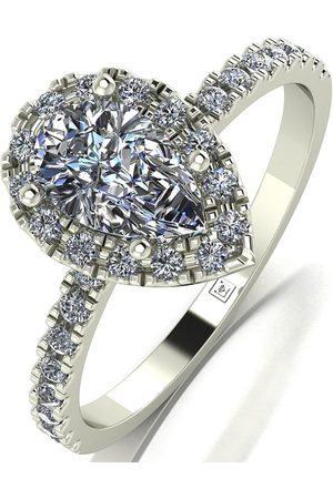 Moissanite 9Ct 1.40Ct Equivalent Total Cushion Pear Centre Halo Ring
