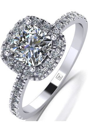 Moissanite Platinum 1.4Ct Total Equivalent Cushion Centre Halo Ring