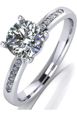 Moissanite Women Rings - Platinum 1Ct Stone With Stone Set Shoulders