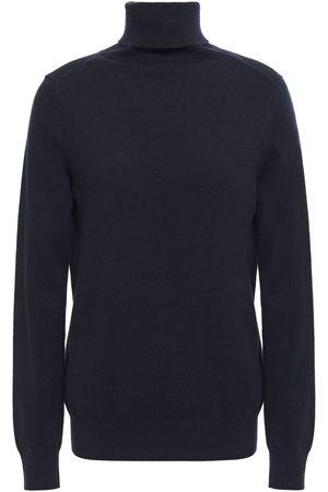 N.PEAL Woman Mélange Cashmere Turtleneck Sweater Navy Size L
