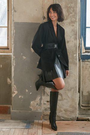 NA-KD Pleated PU Skirt - Black
