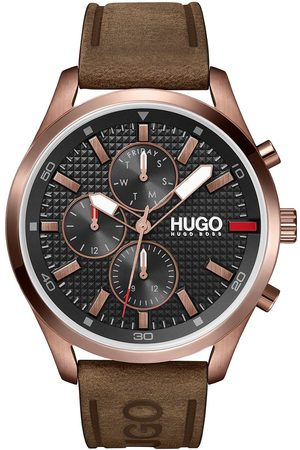 HUGO Chase Black Chronograph Dial Brown Leather Strap Watch