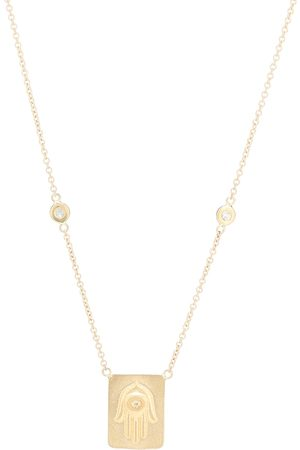 JACQUIE AICHE Hamsa 14kt necklace with diamonds
