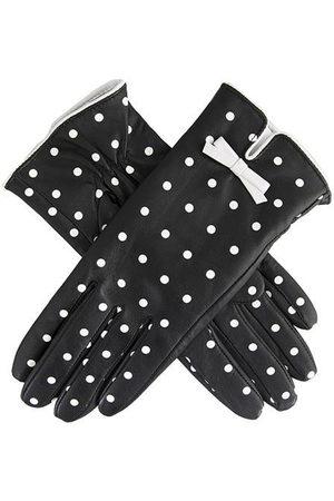 Dents Women's Silk Lined Polka Dot Leather Gloves, BLACK/WHITE / L