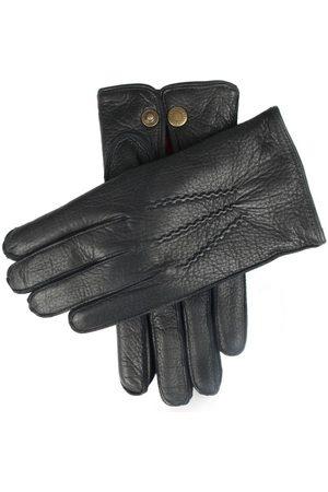Dents Men's Lambswool Lined Deerskin Leather Gloves, BLACK (Red) / 11