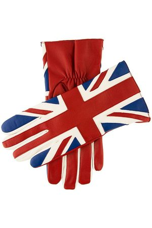 Dents Men's Leather Union Jack Gloves, RED/Multi / M