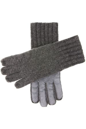 Dents Men's Cashmere Knitted Gloves with Suede Palm Patch, / L
