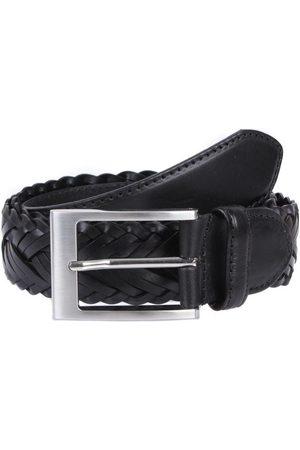Dents Plaited Leather Belt, BLACK / L