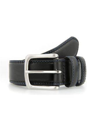 Dents Leather Belt with Contrast Colour Stitching, BLACK/ROYAL BLUE / L