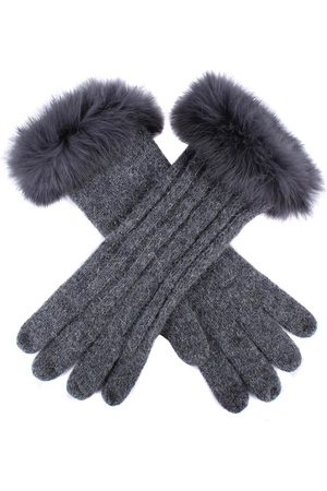 Dents Women's Cable Knit Gloves with Fur Cuffs, CHARCOAL / ONE