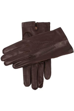 Dents Men's Silk Lined Leather Gloves, BROWN / 10