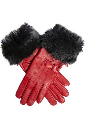 Dents Women's Wool Lined Leather Gloves with Hearts and Faux Fur Cuffs, BERRY/BLACK / L