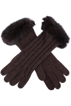 Dents Women's Cable Knit Gloves with Fur Cuffs, CHOCOLATE / ONE