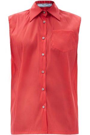 Prada Sleeveless Silk-blend Organza Shirt - Womens