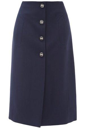 Prada Buttoned Wool-twill Suit Skirt - Womens